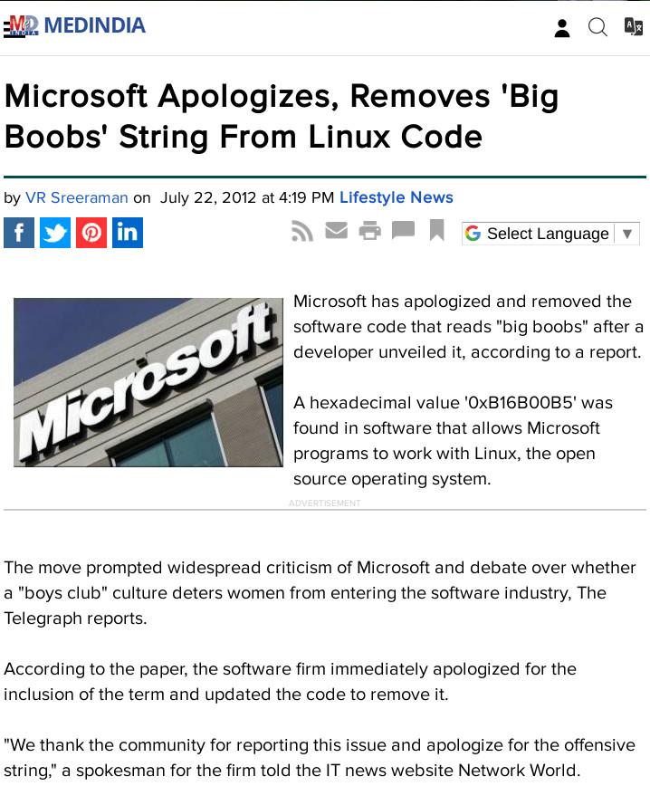 Microsoft apology