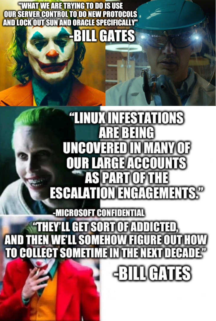 Two Jokers: What we are trying to do is use our server control to do new protocols and lock out Sun and Oracle specifically - Bill Gates