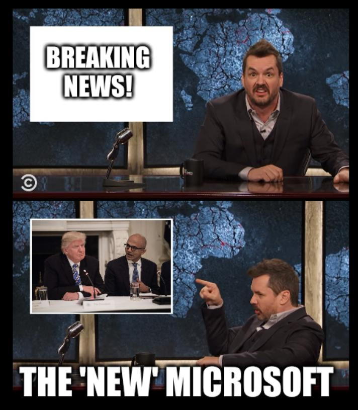 Newscaster Jim Jefferies Two Panel Blank: Breaking news! The 'new' Microsoft, Trump Nadella