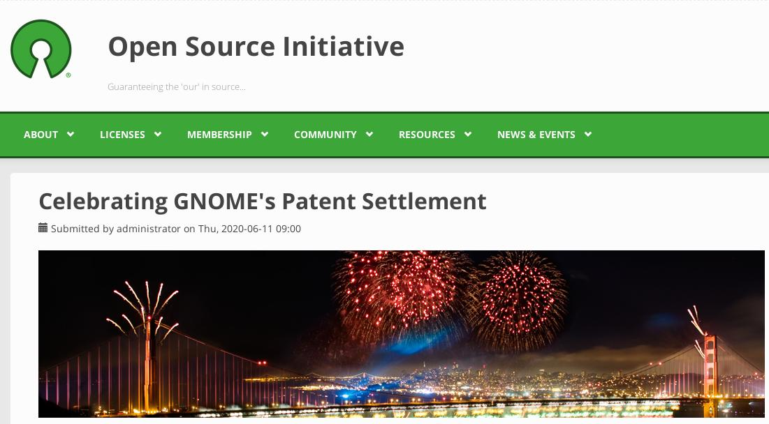 OSI: Celebrating GNOME's Patent Settlement