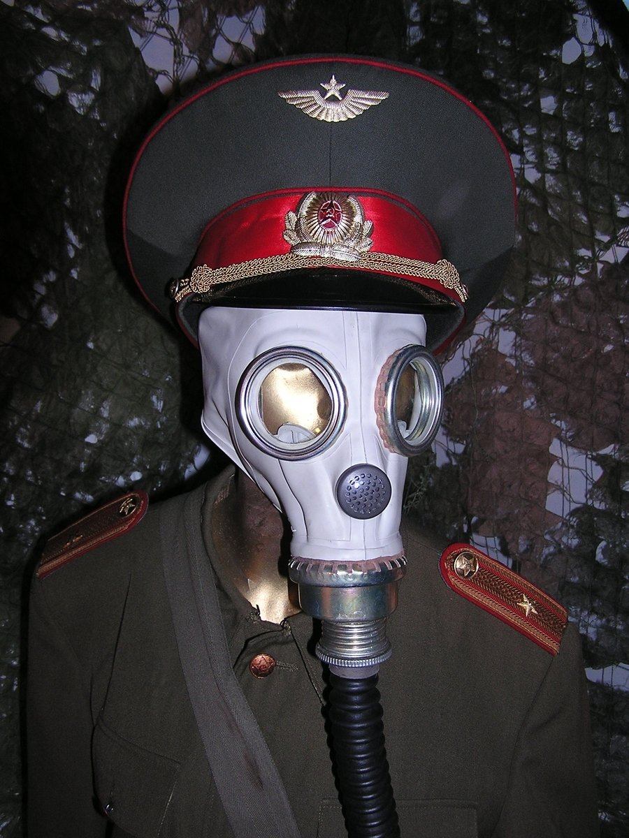 Soviet officer in gas mask