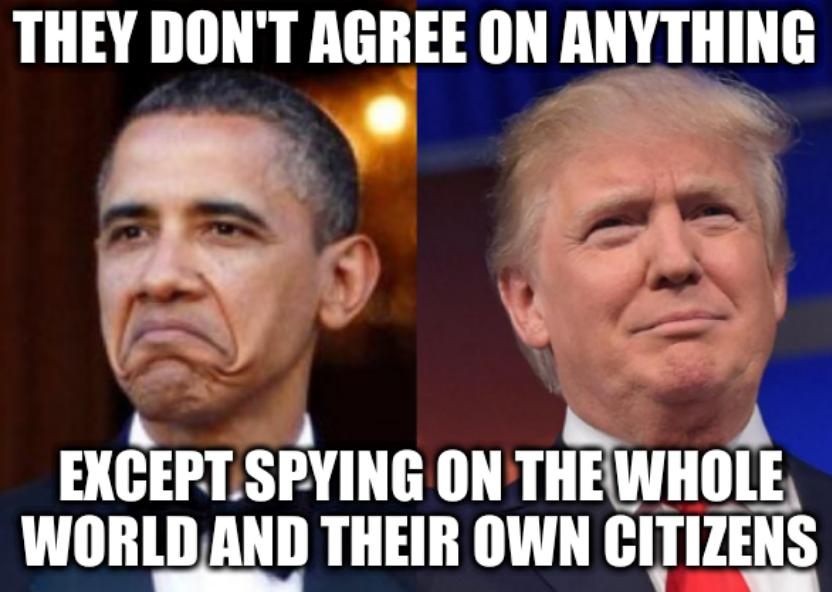 BHO-DJT Side-by-Side: They don't agree on anything... Except spying on the whole world and their own citizens