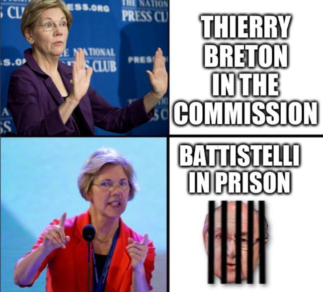 Elizabeth Warren Likes: Thierry Breton in the Commission; Battistelli in Prison