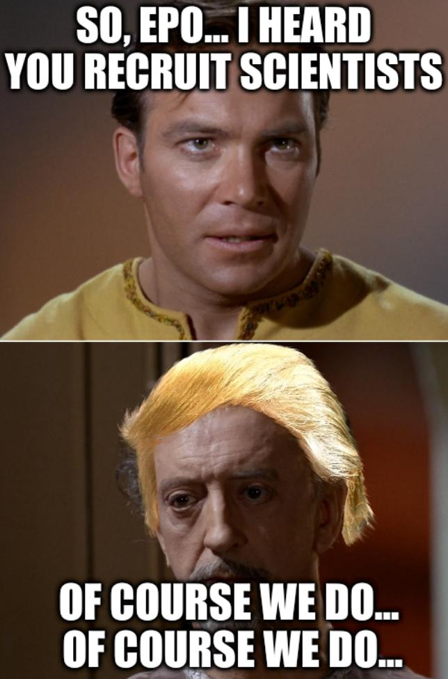 Star Trek Kirk War two faces: So, EPO... I heard you recruit scientists. Of course we do... Of course we do...