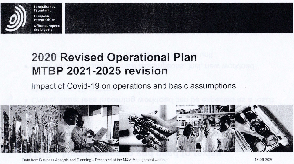 EPO's revised operational plan page 1