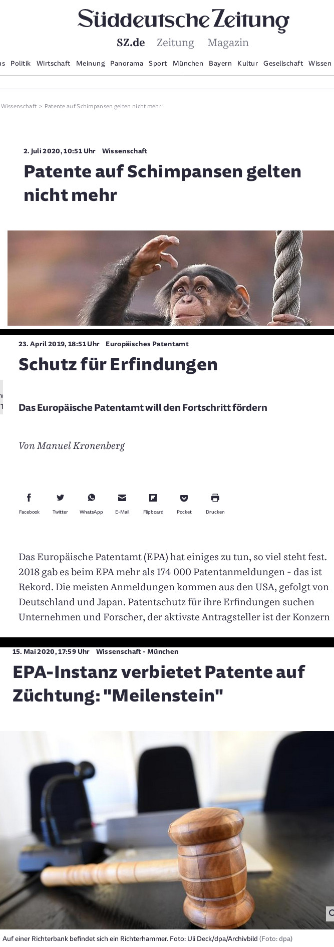 SZ coverage of EPO affairs these days