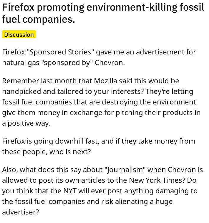 Firefox promoting environment-killing fossil fuel companies.