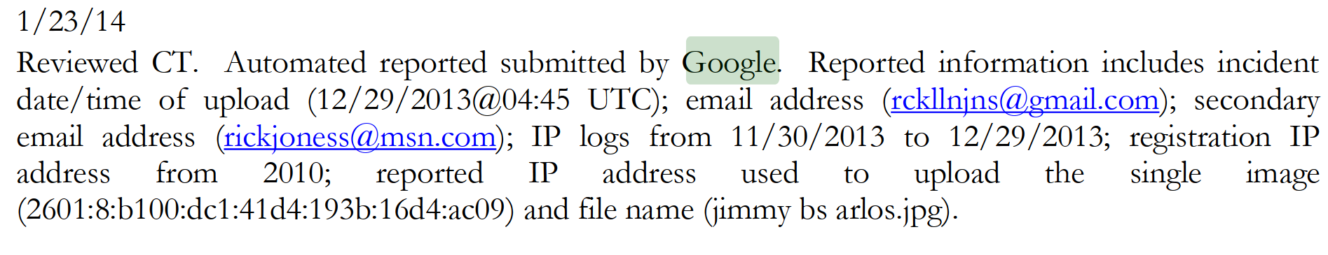 Google intercept
