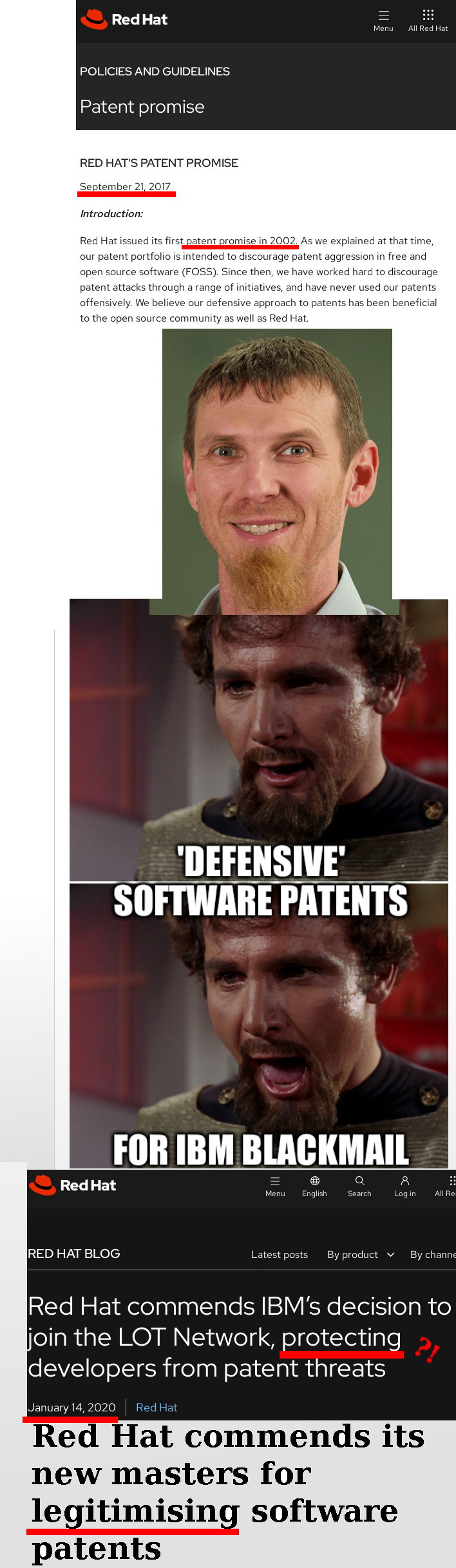 Star Trek Klingon insults: 'Defensive' software patents for IBM blackmail: Red Hat commends its new masters for legitimising software patents