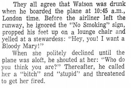 Watson on the plane