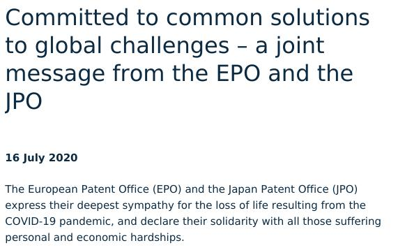 Committed to common solutions to global challenges – a joint message from the EPO and the JPO