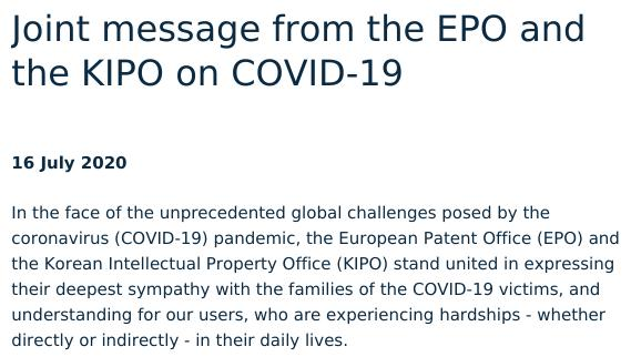Joint message from the EPO and the KIPO on COVID-19
