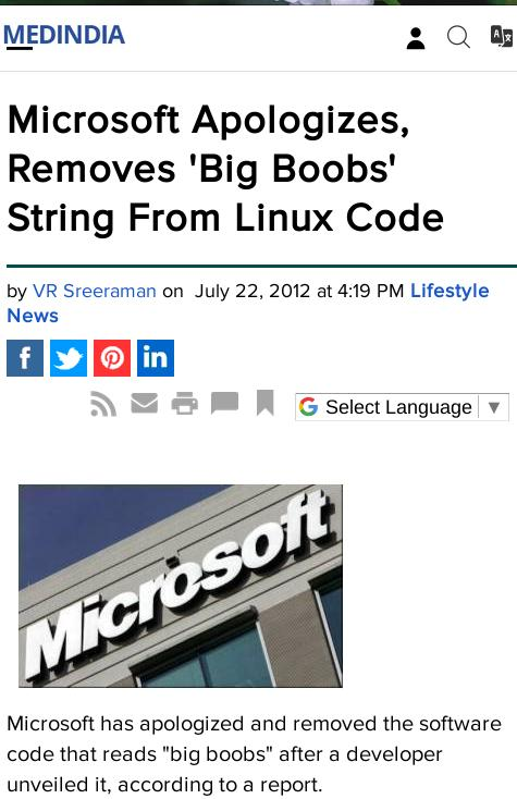 Microsoft Apologizes, Removes 'Big Boobs' String From Linux Code