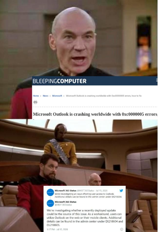Picard Red Alert, Cancel Red Alert: Outlook, down