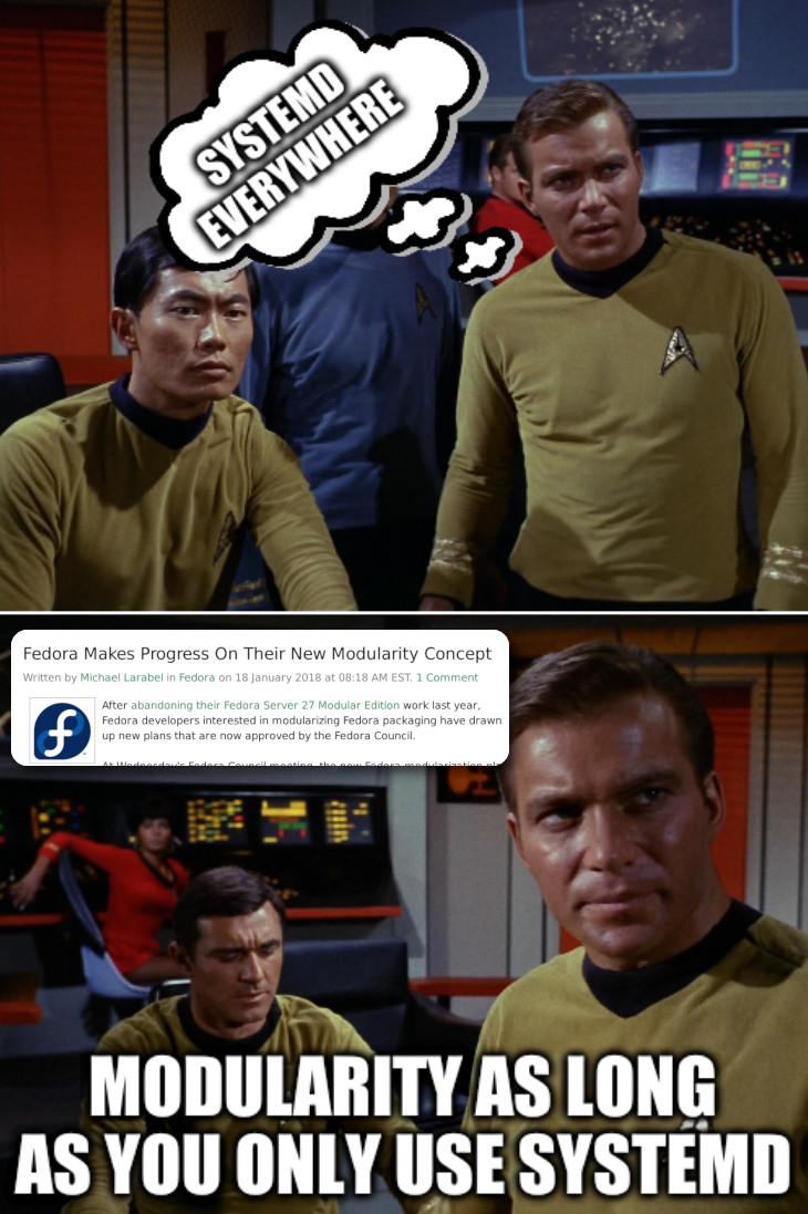 Kirk Strategist Star Trek: systemd everywhere... Modularity as long as you only use systemd