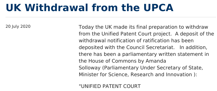 UK Withdrawal from the UPCA
