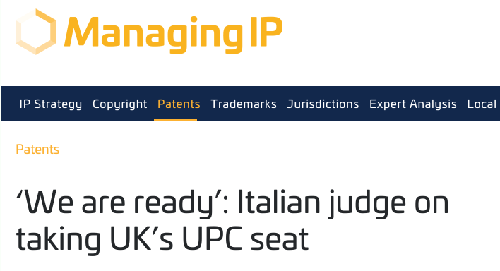 'We are ready': Italian judge on taking UK's UPC seat