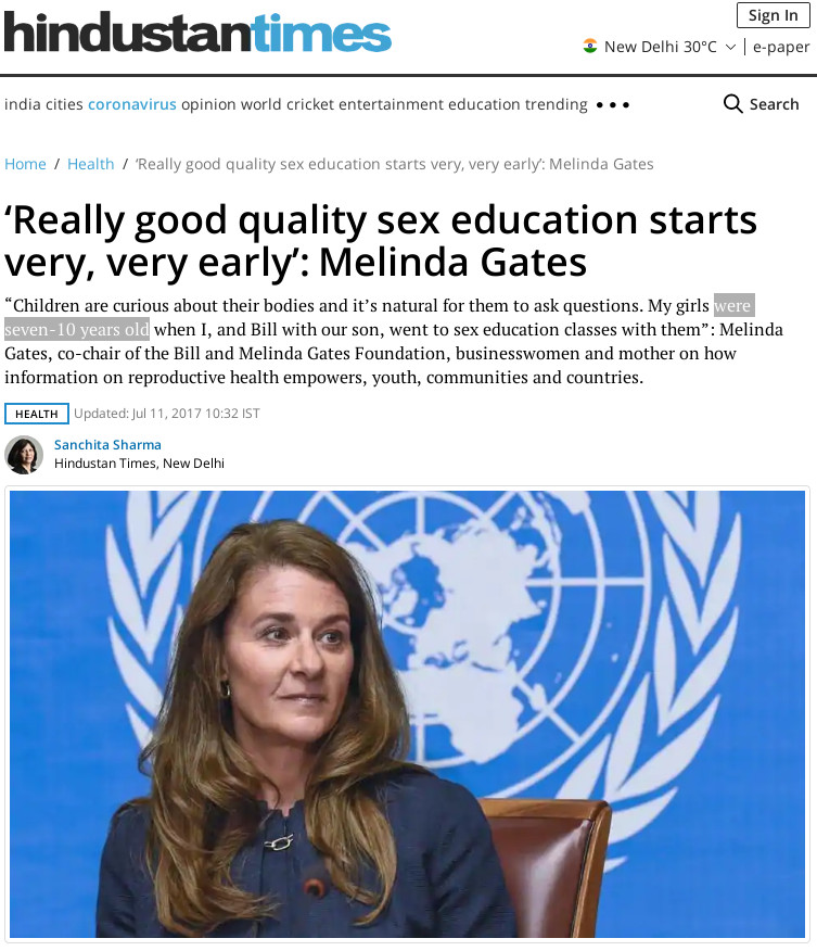 'Really good quality sex education starts very, very early': Melinda Gates