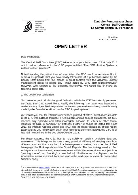 CSC open letter #1