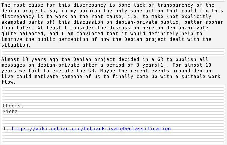 Debian transparency