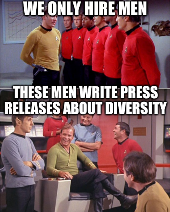 Star Trek laughter: We only hire men; These men write press releases about diversity