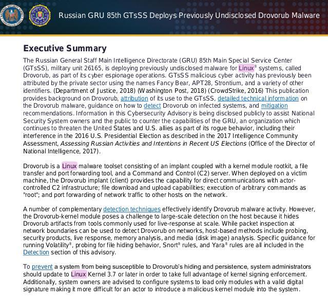 FBI/NSA report