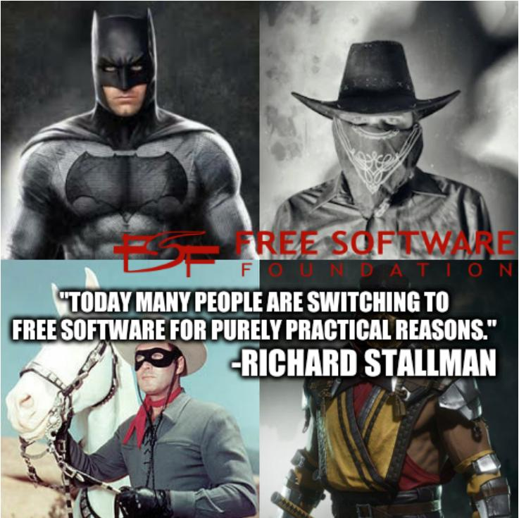 'Hero vs Villain Masks: Today many people are switching to free software for purely practical reasons.'--Richard Stallman