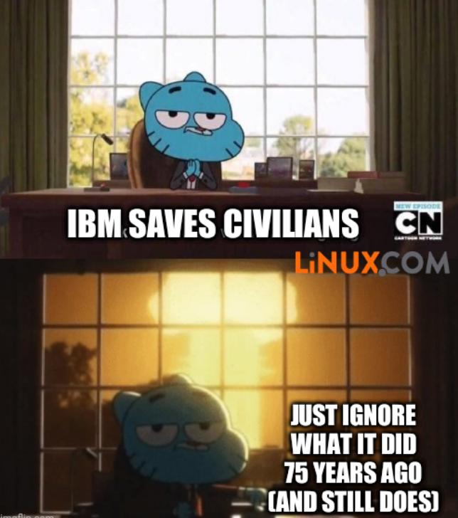 IBM Saves Civilians; just ignore what it did 75 years ago (and still does)
