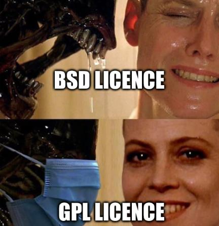Ripley and Alien: BSD licence, GPL licence
