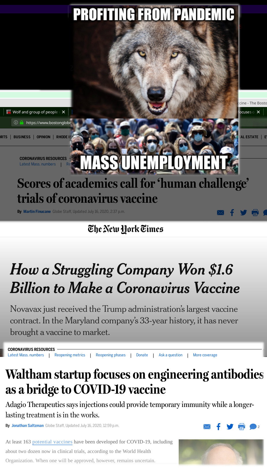 Wolf and group of people with face masks: Profiting from pandemic; mass unemployment