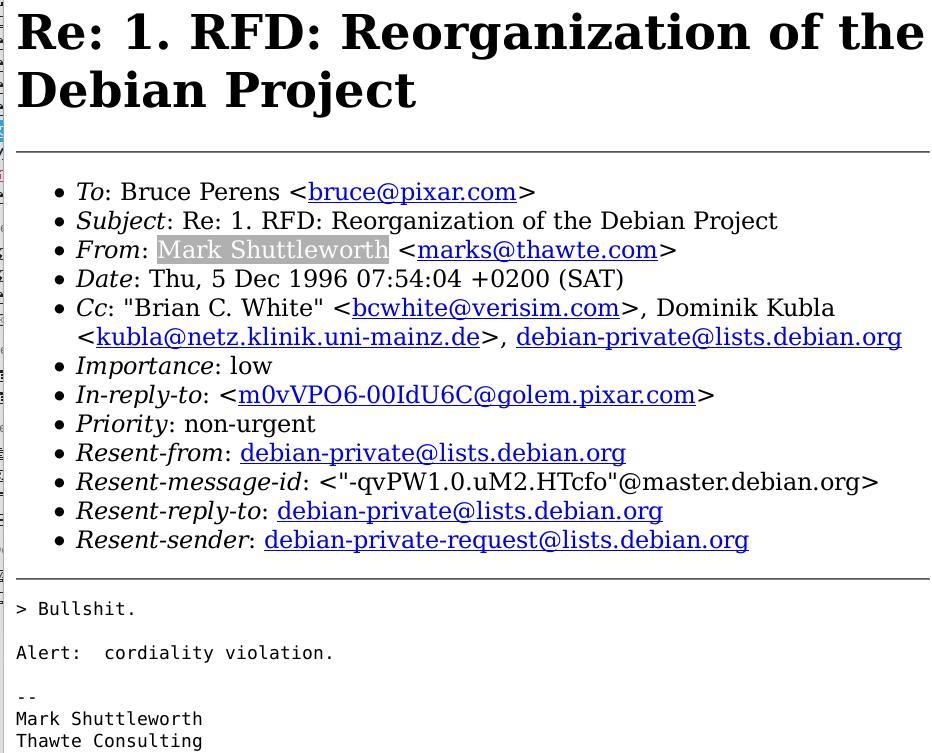 Mark Shuttleworth on Debian-Private speech