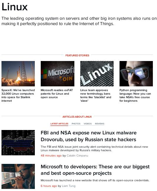 ZDNet on Linux