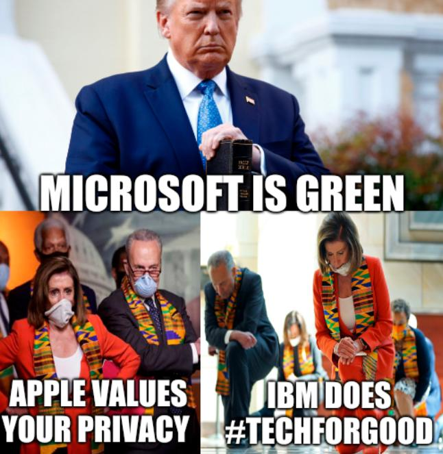 Pandering Politicians: Microsoft is green, Apple values your privacy, IBM does #TechForGood