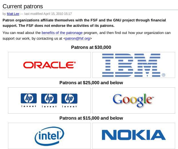 FSF patrons 2010