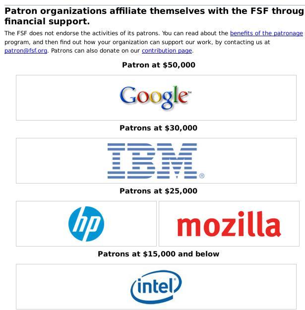 FSF patrons 2014