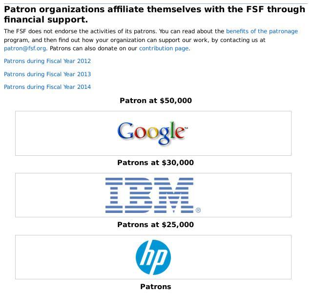 FSF patrons 2015