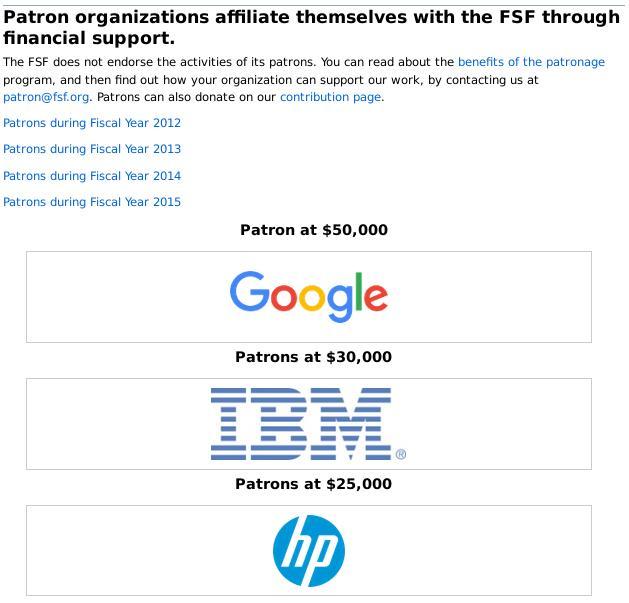 FSF patrons 2016