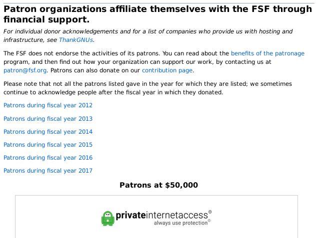 FSF patrons 2018