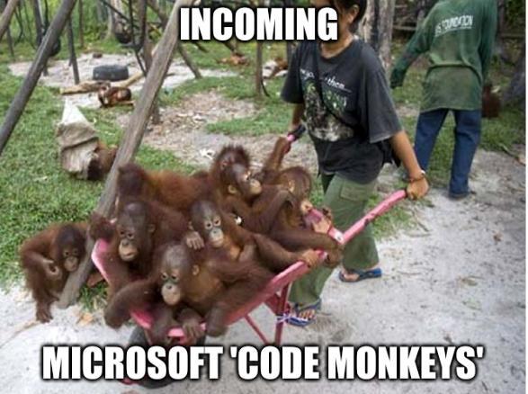 Incoming Microsoft 'code monkeys'