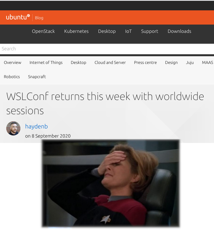 Captain Janeway Facepalm: Welcome to Ubuntu blog