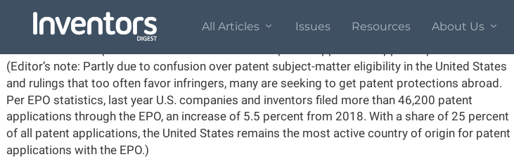 Inventors Digest editor on EPO