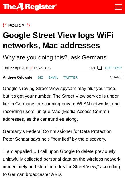Google Street View logs WiFi networks, Mac addresses