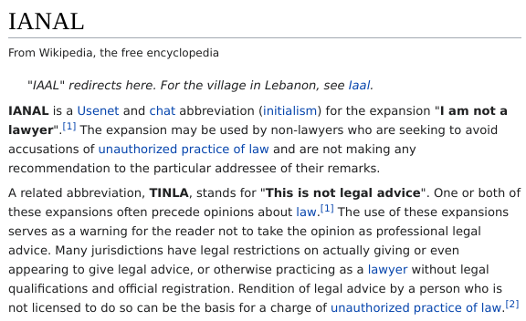 Wikipedia on IANAL