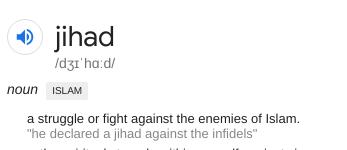 "Oxford dictionary on ""Jihad"""