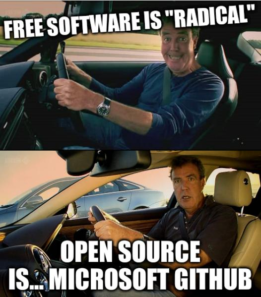 Clarkson meme on wheel: Free software is 'radical'; Open source is... Microsoft GitHub