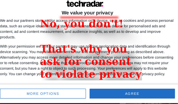 No, you don't! That's why you ask for consent to violate privacy
