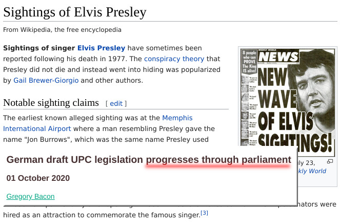 Elvis Presley and UPC