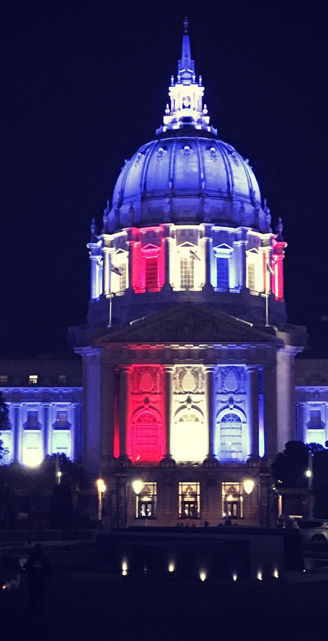 SF City Hall at night on Election Day 2018