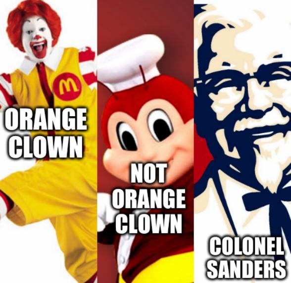 Three Restaurant Kings: Orange clown, Not Orange clown, Colonel Sanders