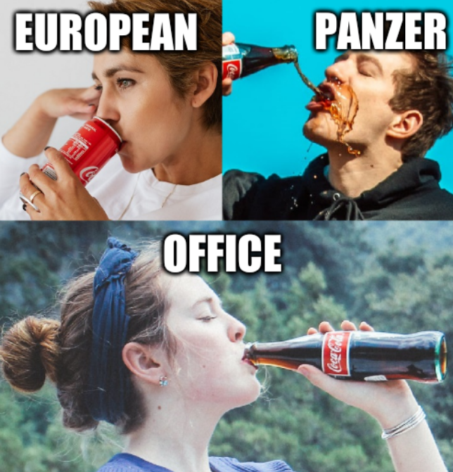 Three soda drinkers: European panzer office
